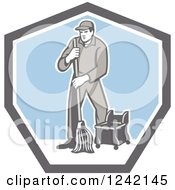 Clipart Of A Retro Male Custodian Janitor In A Shield Royalty Free Vector Illustration by patrimonio