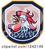 Clipart Of A Blue And Red Rooster In A Shield Royalty Free Vector Illustration