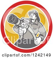 Clipart Of A Retro Fireman Aiming A Hose In A Yellow And Red Circle Royalty Free Vector Illustration by patrimonio