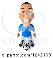 Clipart Of A 3d Italian Soccer Player Standing Over A Ball Royalty Free Illustration