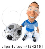 Clipart Of A 3d Italian Soccer Player Holding Up A Ball Royalty Free Illustration