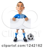 Clipart Of A 3d Italian Soccer Player Holding A Sign Royalty Free Illustration