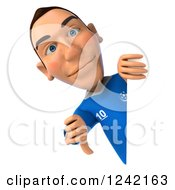 Clipart Of A 3d Italian Soccer Player Holding A Thumb Down Around A Sign Royalty Free Illustration