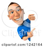 Clipart Of A 3d Italian Soccer Player Pointing Around A Sign Royalty Free Illustration