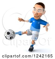 Clipart Of A 3d Italian Soccer Player Kicking Royalty Free Illustration