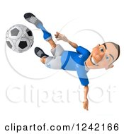 Clipart Of A 3d Italian Soccer Player Kicking 2 Royalty Free Illustration