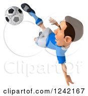 Clipart Of A 3d Italian Soccer Player Kicking 3 Royalty Free Illustration