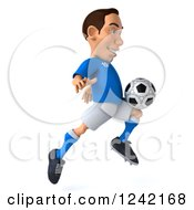 Clipart Of A 3d Italian Soccer Player Kicking 4 Royalty Free Illustration