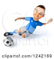 Clipart Of A 3d Italian Soccer Player Kicking 5 Royalty Free Illustration