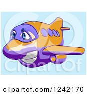Clipart Of A Happy Purple And Orange Airplane Mascot Flying Over Blue 3 Royalty Free Illustration