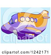 Clipart Of A Happy Purple And Orange Airplane Mascot Flying Over Blue 4 Royalty Free Illustration