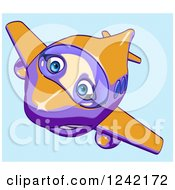 Clipart Of A Happy Purple And Orange Airplane Mascot Flying Over Blue 5 Royalty Free Illustration