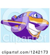 Clipart Of A Happy Purple And Orange Airplane Mascot Flying Over Blue 6 Royalty Free Illustration