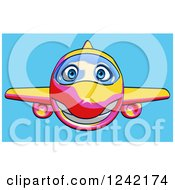 Clipart Of A Happy Yellow Pink And Red Airplane Mascot Flying Over Blue 5 Royalty Free Illustration