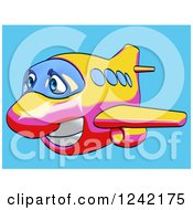 Clipart Of A Happy Yellow Pink And Red Airplane Mascot Flying Over Blue 6 Royalty Free Illustration