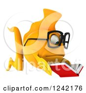 Clipart Of A 3d Bespectacled Goldfish Reading A Book 6 Royalty Free Illustration