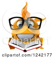 Clipart Of A 3d Bespectacled Goldfish Reading A Book 4 Royalty Free Illustration