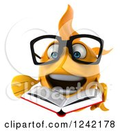 Clipart Of A 3d Bespectacled Goldfish Reading A Book 5 Royalty Free Illustration