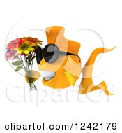 3d Happy Goldfish Wearing Sunglasses And Holding Flowers