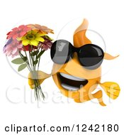 3d Happy Goldfish Wearing Shades And Holding Flowers