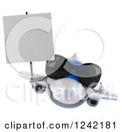 Clipart Of A 3d Airplane Mascot Wearing Sunglasses And Holding A Sign 3 Royalty Free Illustration