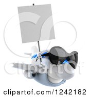 Clipart Of A 3d Airplane Mascot Wearing Sunglasses And Holding A Sign 4 Royalty Free Illustration