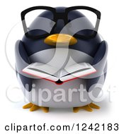 Clipart Of A 3d Bespectacled Penguin Reading A Book 2 Royalty Free Illustration