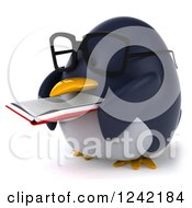 Clipart Of A 3d Bespectacled Penguin Reading A Book 3 Royalty Free Illustration