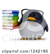 Clipart Of A 3d Bespectacled Penguin Holding A Stack Of Books 2 Royalty Free Illustration