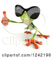 Clipart Of A 3d Argie Frog Wearing Sunglasses And Holding A Thumb Up Royalty Free Illustration