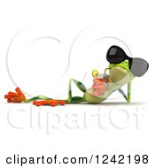 Clipart Of A 3d Argie Frog Wearing Sunglasses And Drinking Royalty Free Illustration