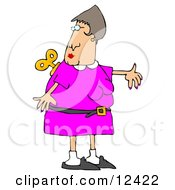 Woman Looking Over Her Shoulder At The Windup Key On Her Back Clipart Illustration