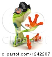 Clipart Of A 3d Argie Frog Wearing Sunglasses And Meditating 2 Royalty Free Illustration