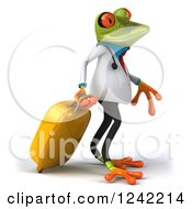 Clipart Of A 3d Traveling Doctor Springer Frog With Luggage Royalty Free Illustration
