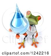 Clipart Of A 3d Doctor Springer Frog Holding A Water Drop Royalty Free Illustration