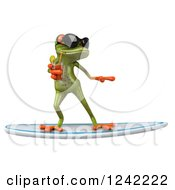 Clipart Of A 3d Green Springer Frog Wearing Sunglasses And Drinking While Surfing Royalty Free Illustration