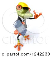 Clipart Of A 3d Contractor Springer Frog Holding A Cell Phone And Gesturing To Call Royalty Free Illustration