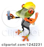 Clipart Of A 3d Contractor Springer Frog Holding A Cell Phone And Gesturing To Call 2 Royalty Free Illustration