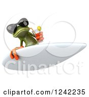 Clipart Of A 3d Green Springer Frog Wearing Sunglasses And Drinking While Surfing 2 Royalty Free Illustration