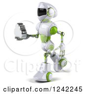 Clipart Of A 3d White And Green Robot Holding A Cloud 3 Royalty Free Illustration