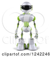 Clipart Of A 3d White And Green Robot Royalty Free Illustration by Julos