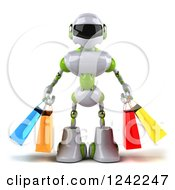 Clipart Of A 3d White And Green Robot Carrying Shopping Bags Royalty Free Illustration