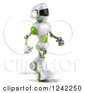 Clipart Of A 3d White And Green Robot Walking 2 Royalty Free Illustration