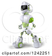 Clipart Of A 3d White And Green Robot Walking 3 Royalty Free Illustration