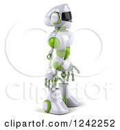 Clipart Of A 3d White And Green Robot Facing Right Royalty Free Illustration