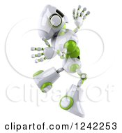 Clipart Of A 3d White And Green Robot Jumping Royalty Free Illustration