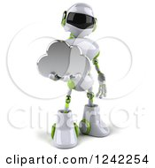 Clipart Of A 3d White And Green Robot Holding A Cloud Royalty Free Illustration