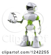 Clipart Of A 3d White And Green Robot Holding A Cloud 2 Royalty Free Illustration