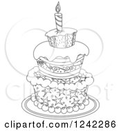 Clipart Of A Black And White Patterned Birthday Cake Royalty Free Vector Illustration