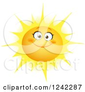 Clipart Of A Happy Summer Sun With A Smile Royalty Free Vector Illustration